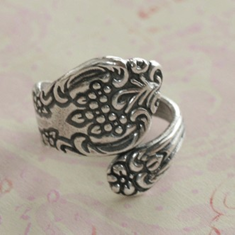 New Hot Fashion Top Quality Antiqued Floral Silver antiqued brass Spoon Ring Finding