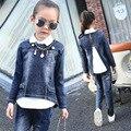 Ternos meninas Estudantes Outono Coreano Drenar de Volta Denim Camisa-calça-casaco de Três Peças Infantis Conjuntos de Roupas de Cowboy Azul