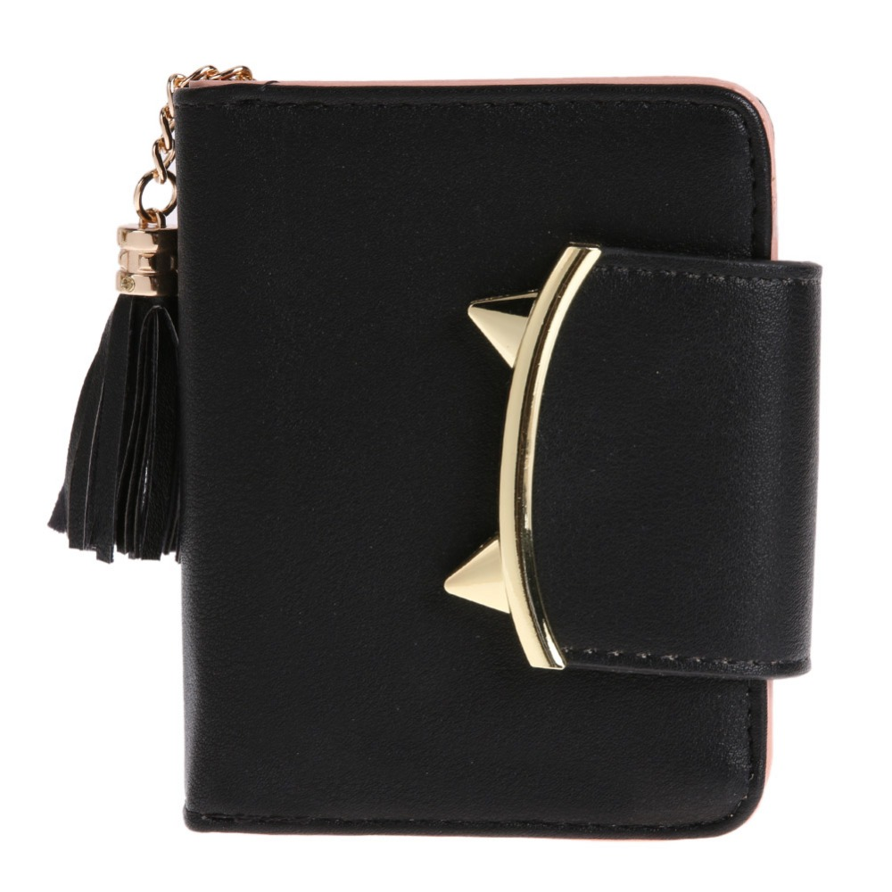 MOJOYCE Korean Cute Cat Ears Leather Short Tassel Women Wallet Small Day Clutch Trifold Female Purse ID Coin Card Holder Mini dollar price women cute cat small wallet zipper wallet brand designed pu leather women coin purse female wallet card holder