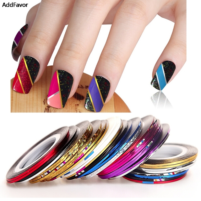 Addfavor 30pc Beauty Mix Colors Nail Rolls Striping Tape Line Nail