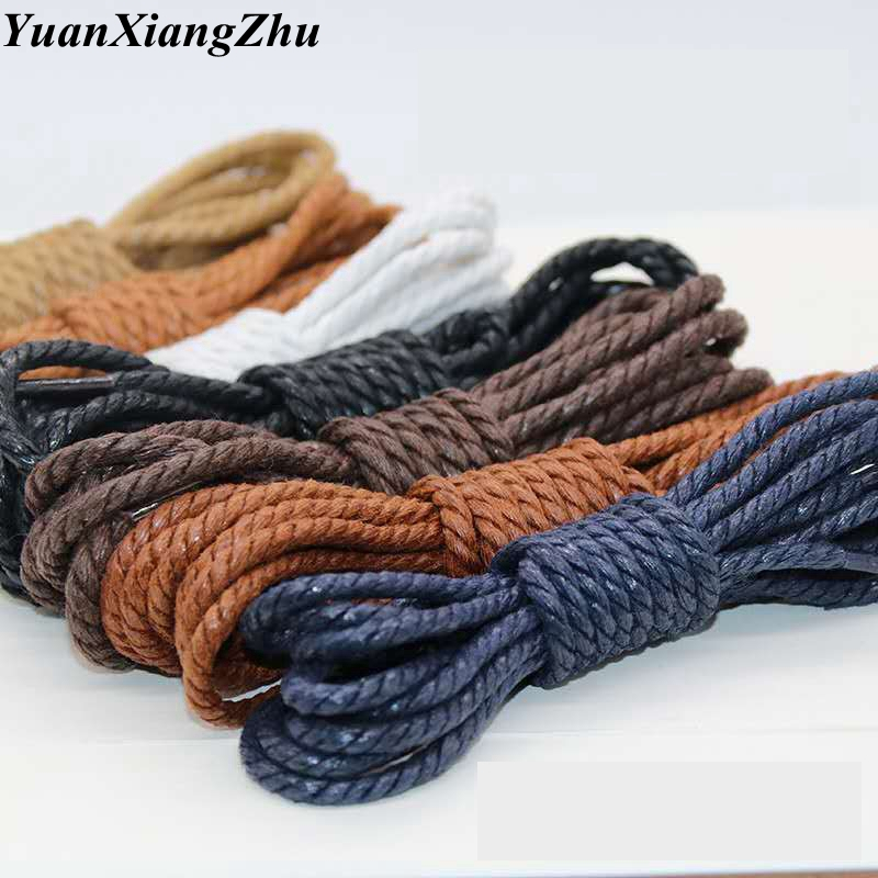 1Pair Shoelce Casual Leather Shoelaces Waxed Round Shoes Lace Shoestring Martin Boots Sport Shoelace Cord Ropes 60/90/120/150CM