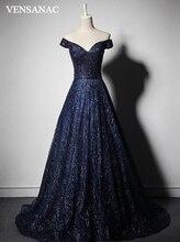 VENSANAC 2018 V Neck Lace Sequined Long A Line Evening Dresses Vintage Pleat Party Sash Sweep Train Prom Gowns