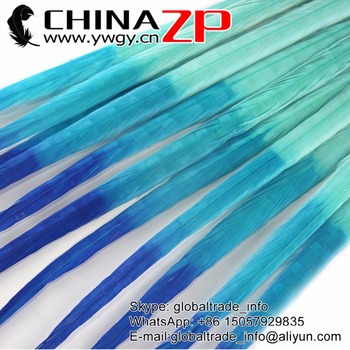 CHINAZP Feather 50pcs/lot 20-22inch (50-55cm) Top Quality Dyed Bright Blue Colorful Ringneck Pheasant Tail Feathers For Carnvial