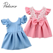 2018 Brand New Toddler Infant Kids Baby Girl Lace Princess Dress Bow Ruffled Backless Sundress Cute Children Summer Dress 3M-3T