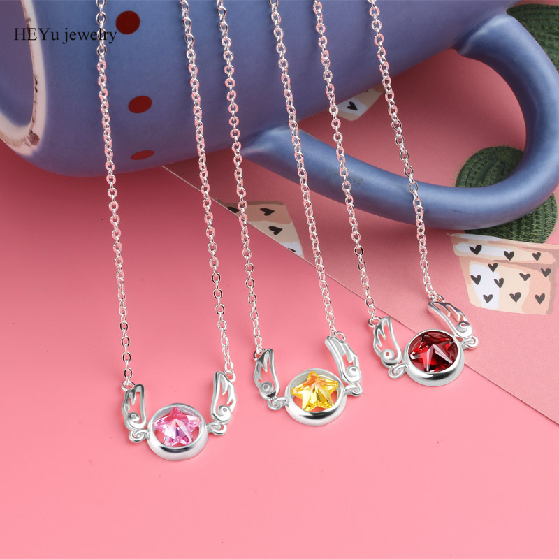 Authentic 100% 925 Sterling Silver Pendant Necklace CardCaptor Sakura Necklace cartoon Cosplay Jewelry Wedding Necklace