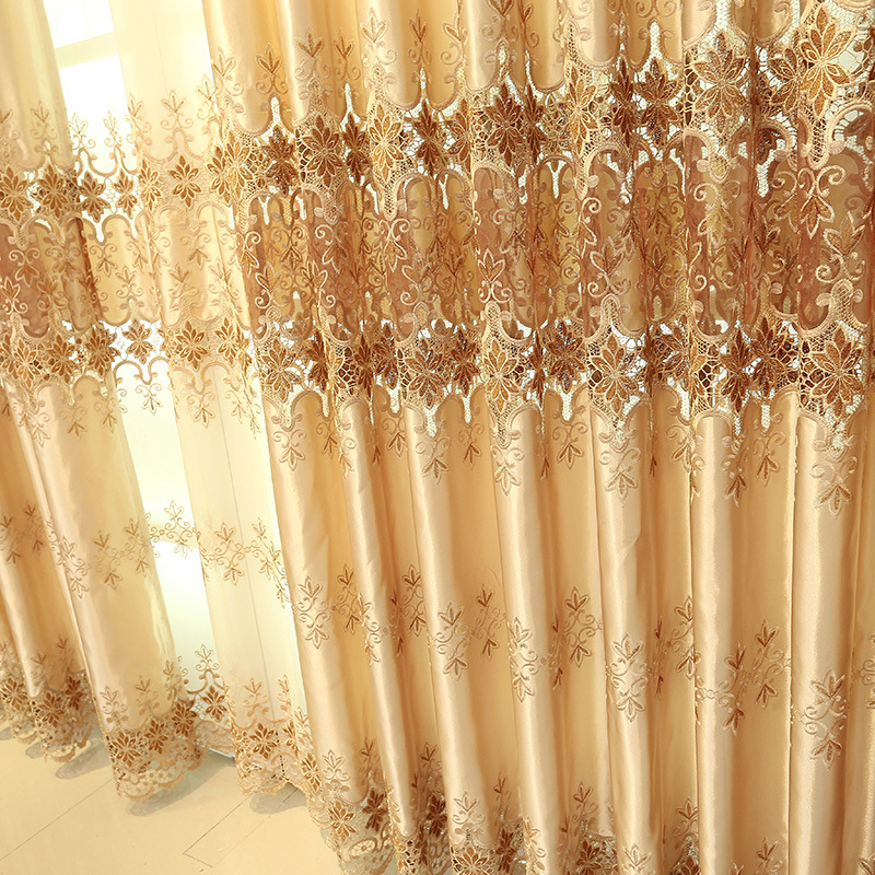Custom Made European classic luxury embroidery curtains for Living Room Hotel Window curtain Bedroom Window curtain kitchen in Curtains from Home Garden
