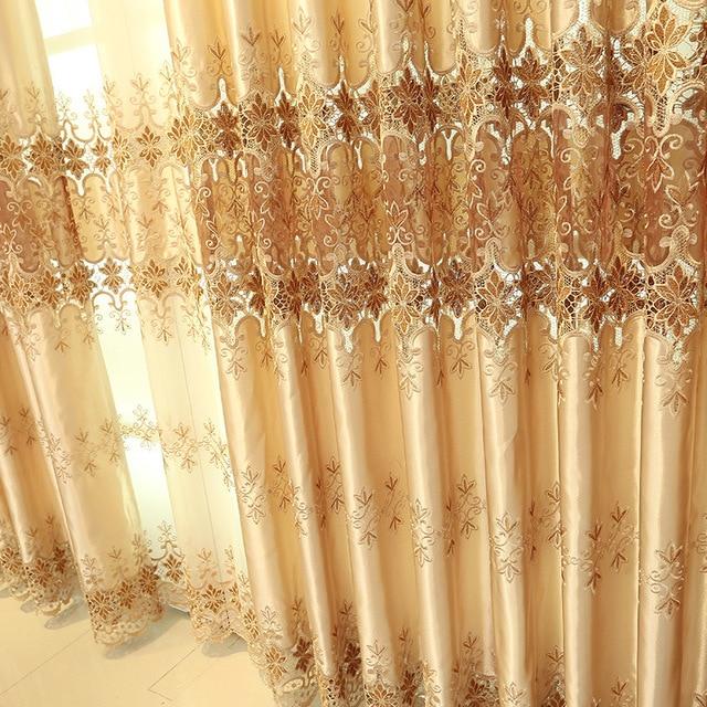 Rideaux brodés de luxe européens classiques | Sur mesure pour salon/hôtel fenêtre rideau pour chambre à coucher et cuisine
