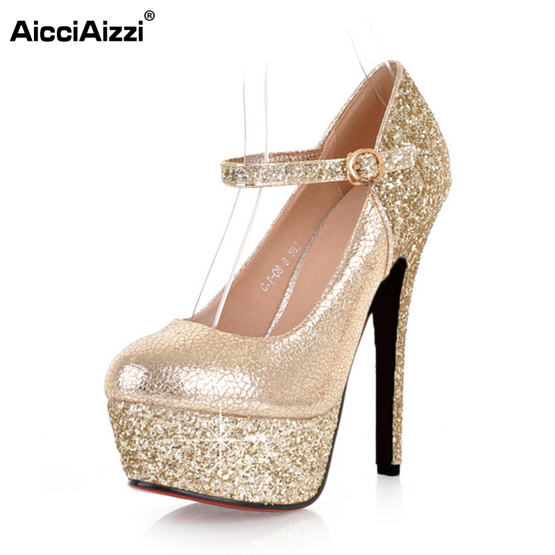 AicciAizzi Round Toe Women Glitters Buckle High Heels Shoes Women Ankle Strap Platform Pumps Party Wedding Footwear Size 34-39 kemekiss size 33 42 women s high heel wedge shoes women cross strap platform pumps round toe casual mixed color ladies footwear