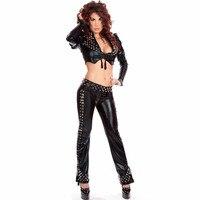 Sexy Black M XL Fashion Black Club Punk Crop Tops Pants Set Long Sleeve Rivet Night Club Style Vinyl Lingerie Sets W850764