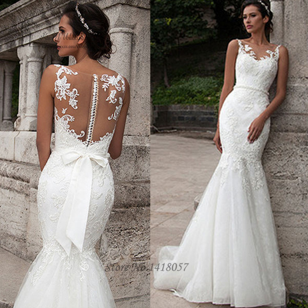 Arab Wedding Gowns Civil Wedding Dress Mermaid Lace Bridal Dresses 2016 Pearls Sash Vestido De Noiva Sereia See Through Back