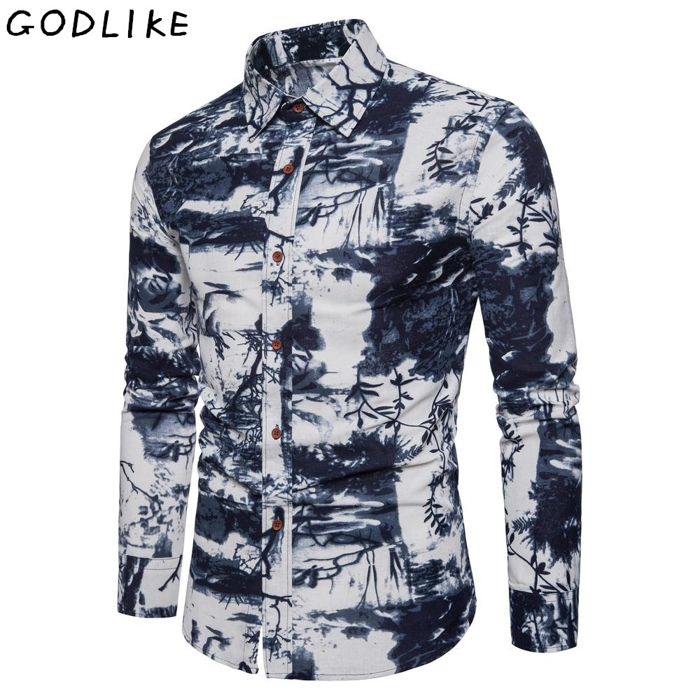 Fashion Mens Casual Shirt Slim Fit Flower Print Linen Shirt Long-sleeved Shirts Male Floral Pattern Social Masculina 4XL 5XL
