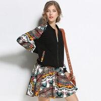 SAVOIL Plus Size 5XL Patchwork Zipper 2 Conjunto de Duas Peças Jaqueta casaco Plissado Saia Terno Mulheres Agasalho 2018 Roupas Quentes Para As Mulheres
