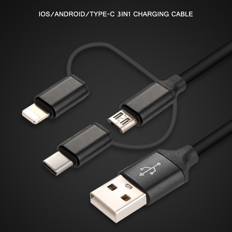USB Type C Fast Charging usb c cable Type-c 3 in 1 data Cord Phone Charger For Samsung S9 S8 Note 8 for Xiaomi mi6 adapter ip camera xiaomi charger adapter 5v 1a white power adapter micro usb data sync cable for redmi 4 4a 4x note 3 4 4x 5 xiao mi
