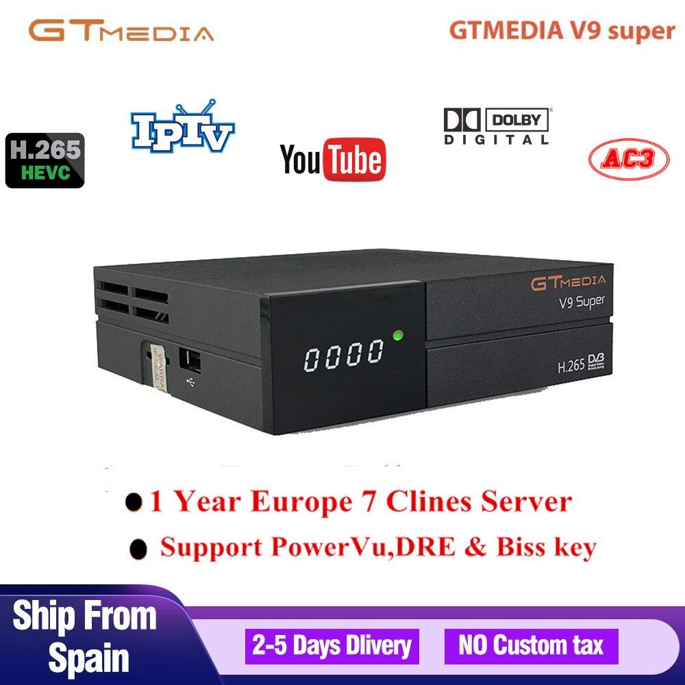 GTmedia V9 Super DVB-S2 Freesat HD 1080P récepteur de télévision par Satellite numérique intégré Wifi H.265 Youtube IPTV + 1 an 7 lignes Cccam