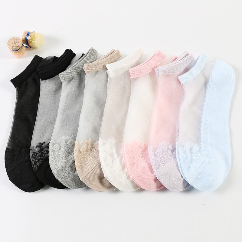 Cool transparent crystal glass socks ladies summer thin stealth socks 50 pairs