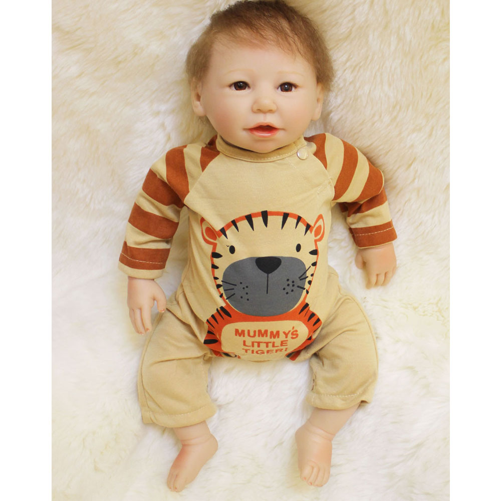 45-50CM Silicone Doll Reborn Baby boy realistic Handmade Cloth Body Reborn Cartoon Cute Toys Baby Growth Partners Best kids Gift partners lp cd