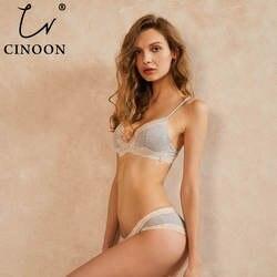 CINOON сексульный бюстгалтер комплект провода Бесплатная цветочный кружево Bralette трусики для женщин простой удобный хлопковый бюстгальтер
