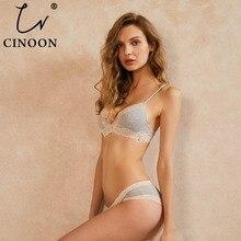 CINOON Sexy lady Bra Set  Wire Free Floral Lace Bralette Briefs Simple comfortable cotton Underwear Women Lingerie
