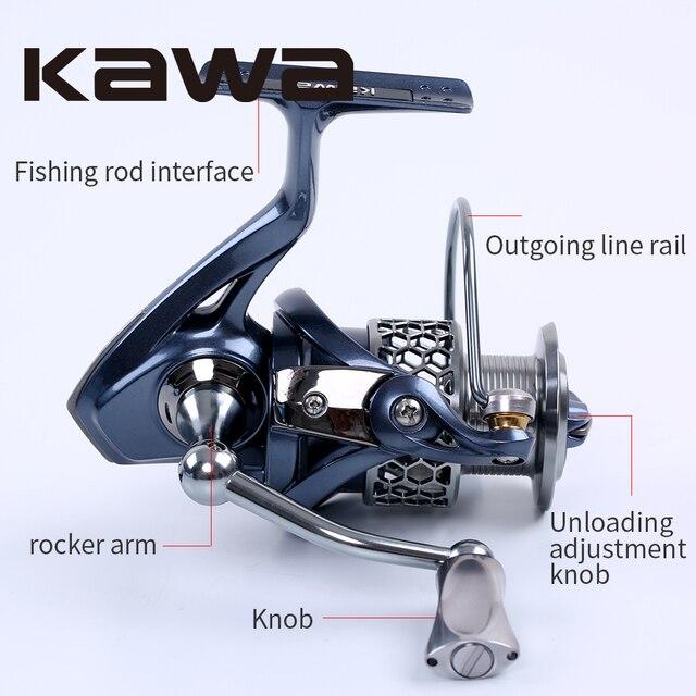 2016 Kawa New Spinning Fishing Reel Light-2000 3000 4000 5000 Series Wheel 9+1 Bearing Graphite Body Metal Spool Alloy Knob