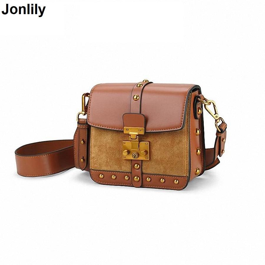Cow Leather Ladies HandBags Women Genuine Leather bags Rivets Small Messenger Bag Designer Luxury Brand Lock Box Bag SLI-396