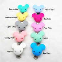Chenkai 50PCS BPA Free Silicone Mickey Teether Clips Pacifier DIY Baby Mouse Animal Nursing Jewelry Toy Dummy Chain Holder clips