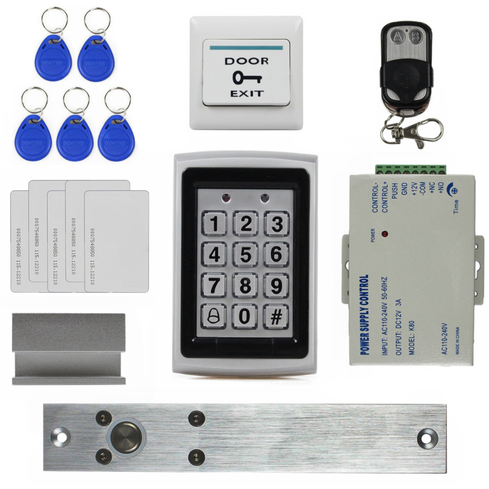DIYSECUR Electric Bolt Lock Remote Control 125KHz RFID Metal Case Keypad Door Access Control Security System Kit 7612 raykube glass door access control kit electric bolt lock touch metal rfid reader access control keypad frameless glass door