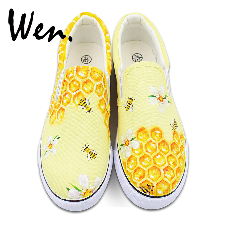 Wen Honeycomb Bees Original Design Hand Painted Shoes Unisex Slip On Canvas Sneakers for Man Woman's Gifts Presents wen original hand painted canvas shoes space galaxy tardis doctor who man woman s high top canvas sneakers girls boys gifts