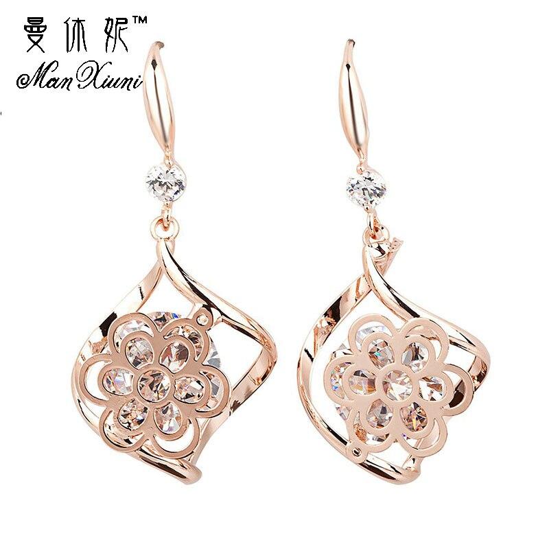 Manxiuni ethnic earrings Dangle Earring Cubic zircon Gold Colored big Earrings For Women Flower Leaf Charm Jewelry Pendientes