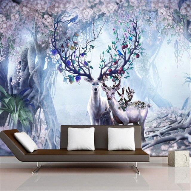 Européenne Mural Tv Fond D écran Murale Scandinave 3d Wapitis Mur De