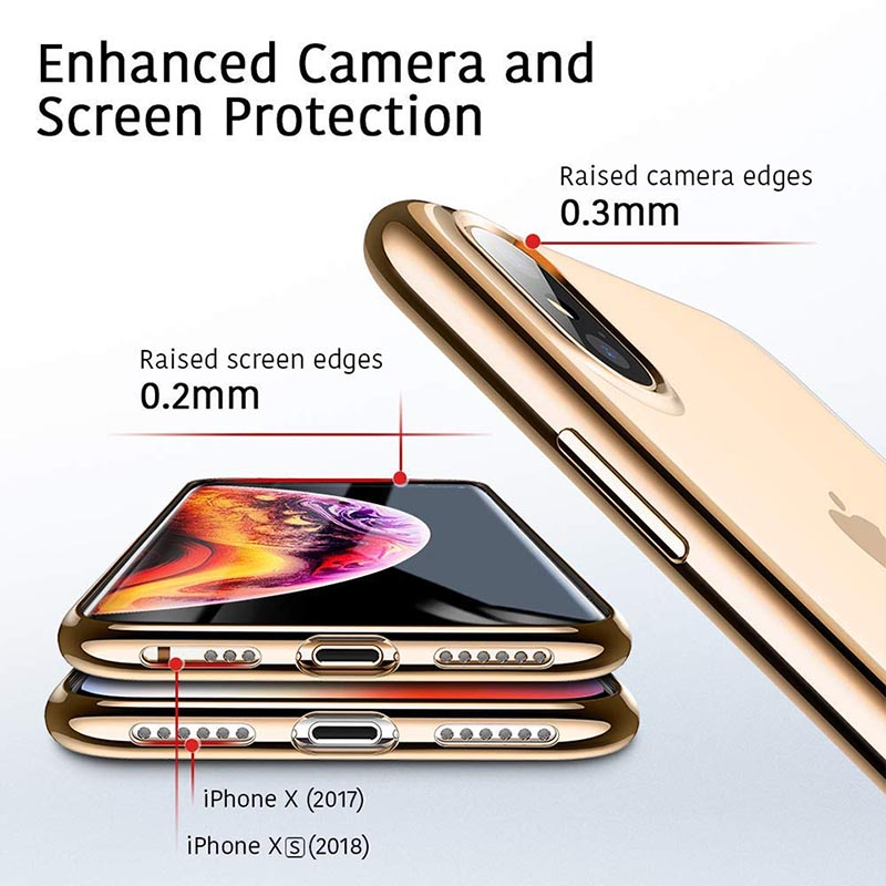 Suntaiho for iPhone 6 Case Plating Edge Phone Case For iPhone 7 Plus Case For iphone XR Xs Max case TPU phone Cover 6s Plus 8