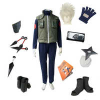 Naruto Copsplay Konoha Ninja Hatake Kakashi Anzug Unisex Party Halloween Kostüm Einschließlich Weste Schuhe Stirnband Kunai Handschuhe set