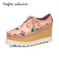 hight colors Super High Heels Embroider Wedges Women Shoes Lace Up Women Pumps Genuine Leather Platform Shoes Woman 2018 Hc88