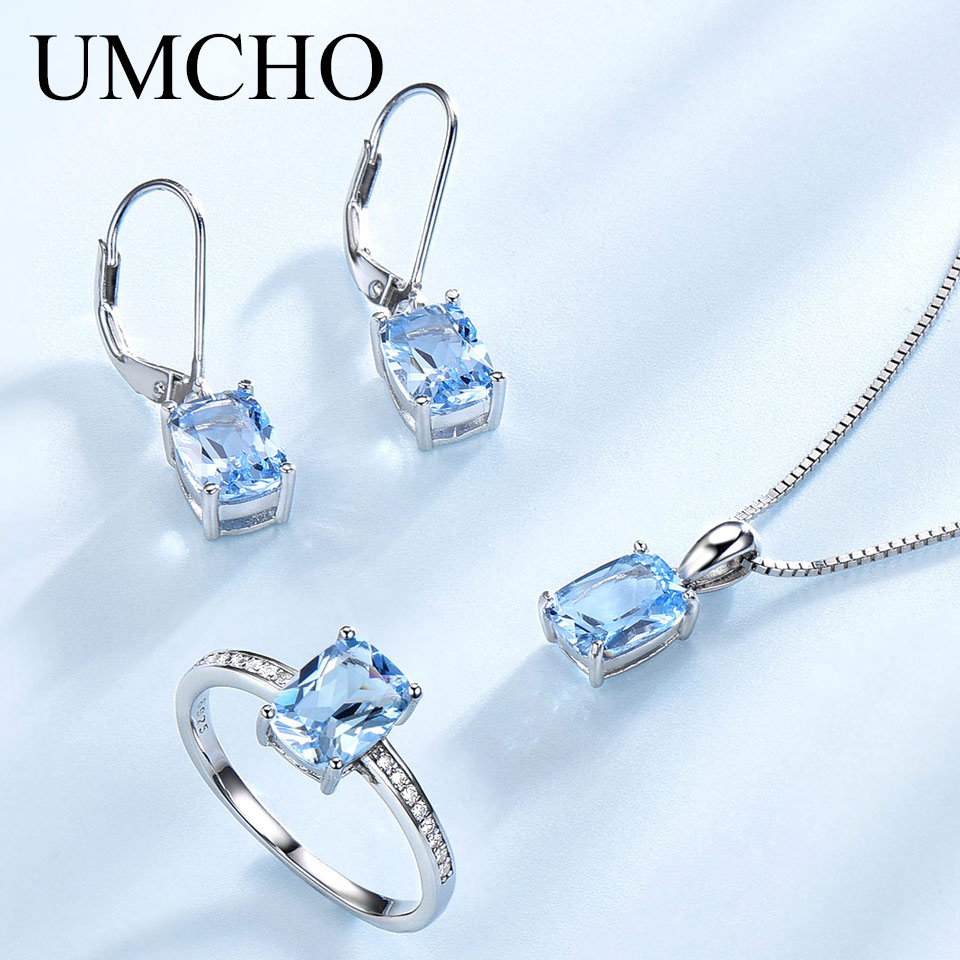UMCHO Elegant 925 Sterling Silver Pendants Necklace Rings Earrings Sky Blue Topaz Wedding Jewelry Sets For Women With Box Chain umcho solid 925 sterling silver necklaces pendants sky blue topaz necklace for women gemstone fashion christmas jewelry new 2019