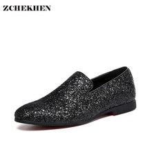 2017 Party Fashion autumn soft Leather Shoes Men diamond Bling pointed slip on Flat Casual loafers Shoes gold silver 38-48 size