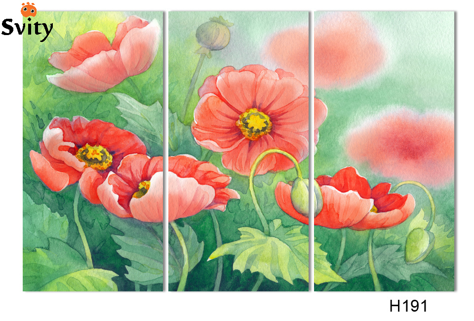 Print on canvas abstract corn poppy flower oil painting no frame print on canvas abstract corn poppy flower oil painting no frame wall art group of paintings for room decor in painting calligraphy from home garden on mightylinksfo