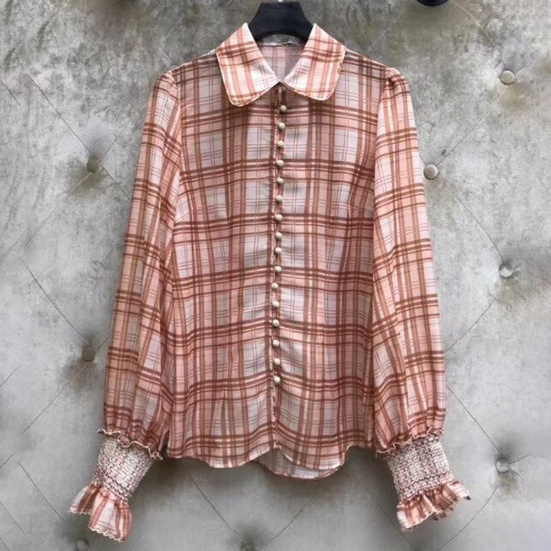 2019 nouvelle marque femmes Blouses longues manches bouffantes chemises dames chemise à carreaux décontracté femme Blouse hauts