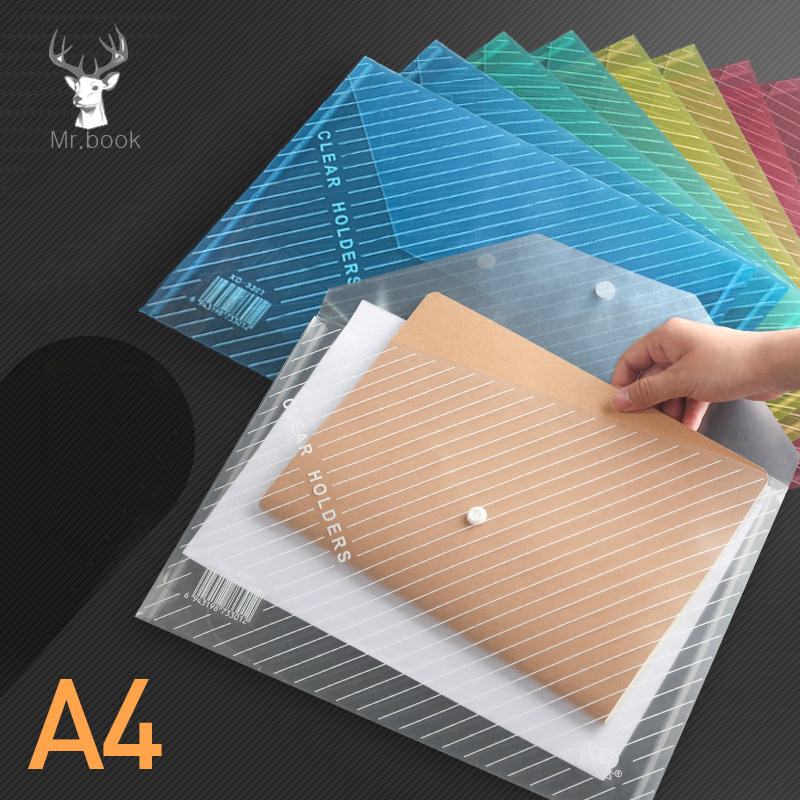 20pcs Waterproof Plastic Paper File Folder Book Pencil Case Expanding File Folder A4 Document Bag for Office School Supplies