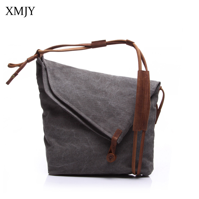XMJY Canvas Bag Men Ladies Vintage Casual Shoulder Messenger Bag Women Fashion Art Canvas Leather Crossbody Bag Travel 5 Colors augur men s messenger bag multifunction canvas leather crossbody bag men military army vintage large shoulder bag travel bags
