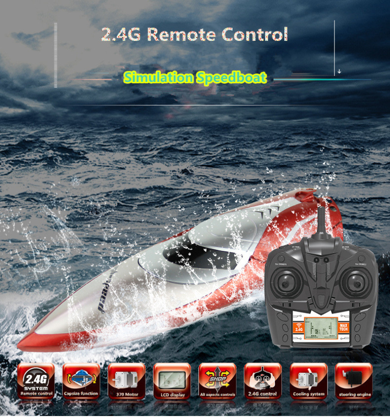 2018 new remote control rc Racing waterproof boat 2.4G 4CH 150m 30KM/H shipwreck reset cooling system RC speedboat toy PK FT011