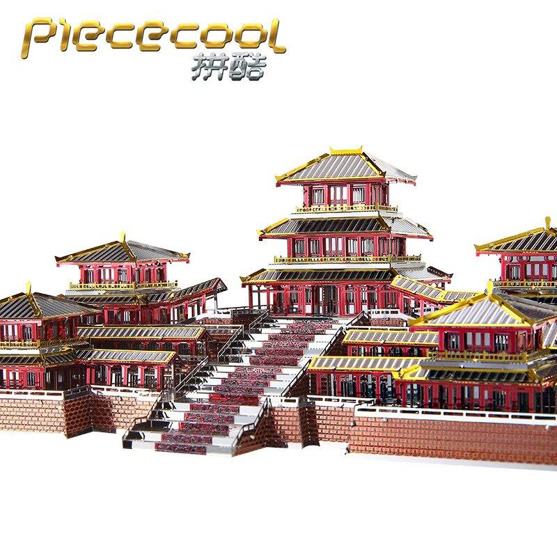 piececool modelos de construcao 3d metal nano puzzle epang palacio modelo kits diy 3d corte a