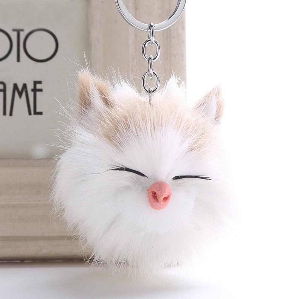 2019 Simples Chaveiro bola De Pêlo Pompom Chaveiro Bonito Sorriso Gato Dormindo Saco Carro Chaveiro Chaveiros de Animais Para A Mulher Jóias presentes