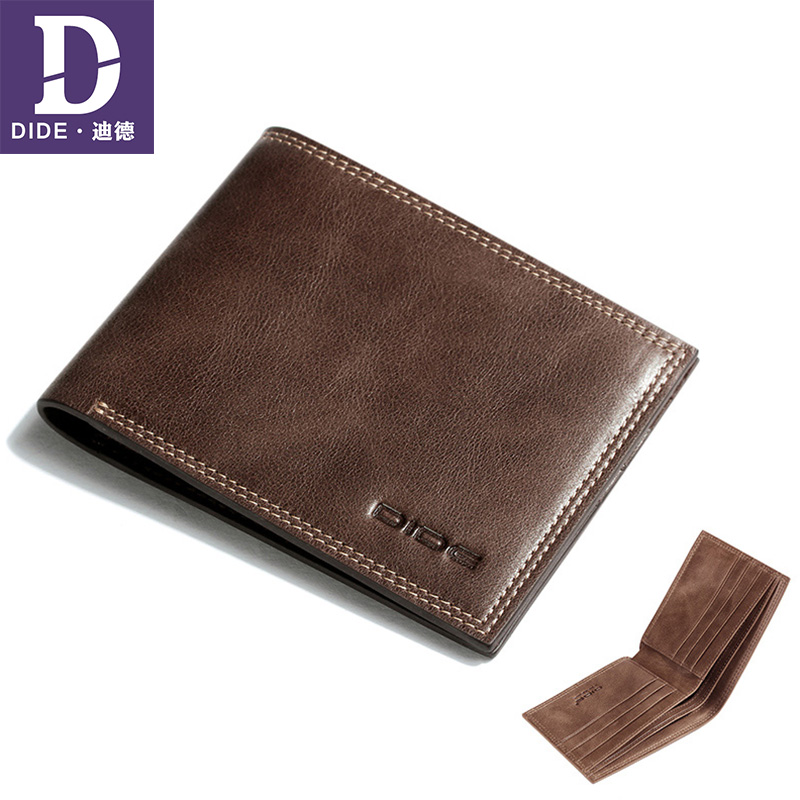 DIDE Men Wallets Genuine-Leather Purse Card-Holder Short Small Male 1cm Thin Mini