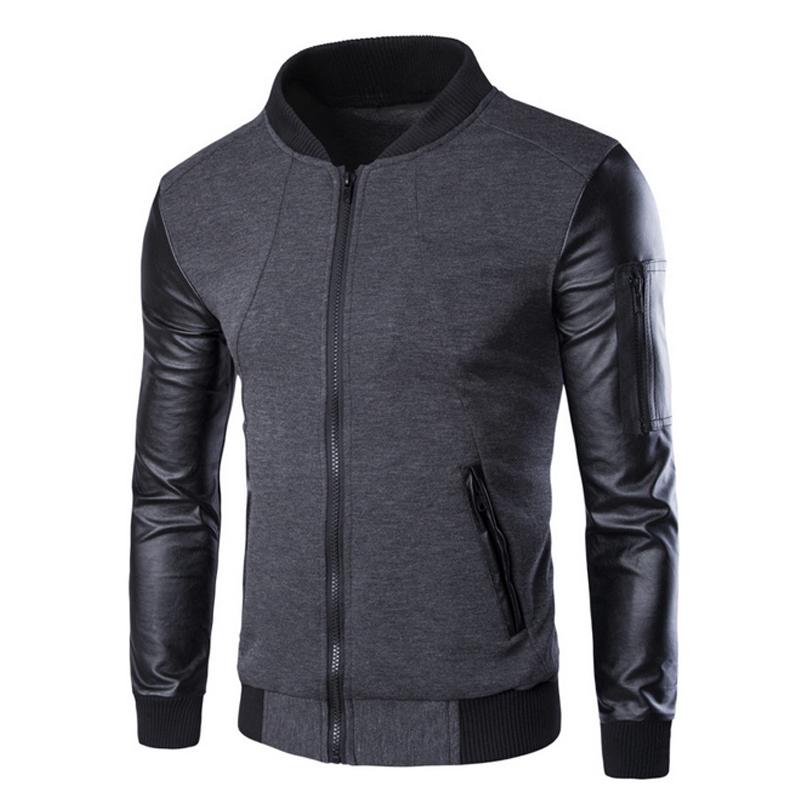 Men's Hoodies Fashion Men Hoodies Jacket Man's Leather Patchwork Jacket Sweatwear Casual Suit Pullover Man Suits