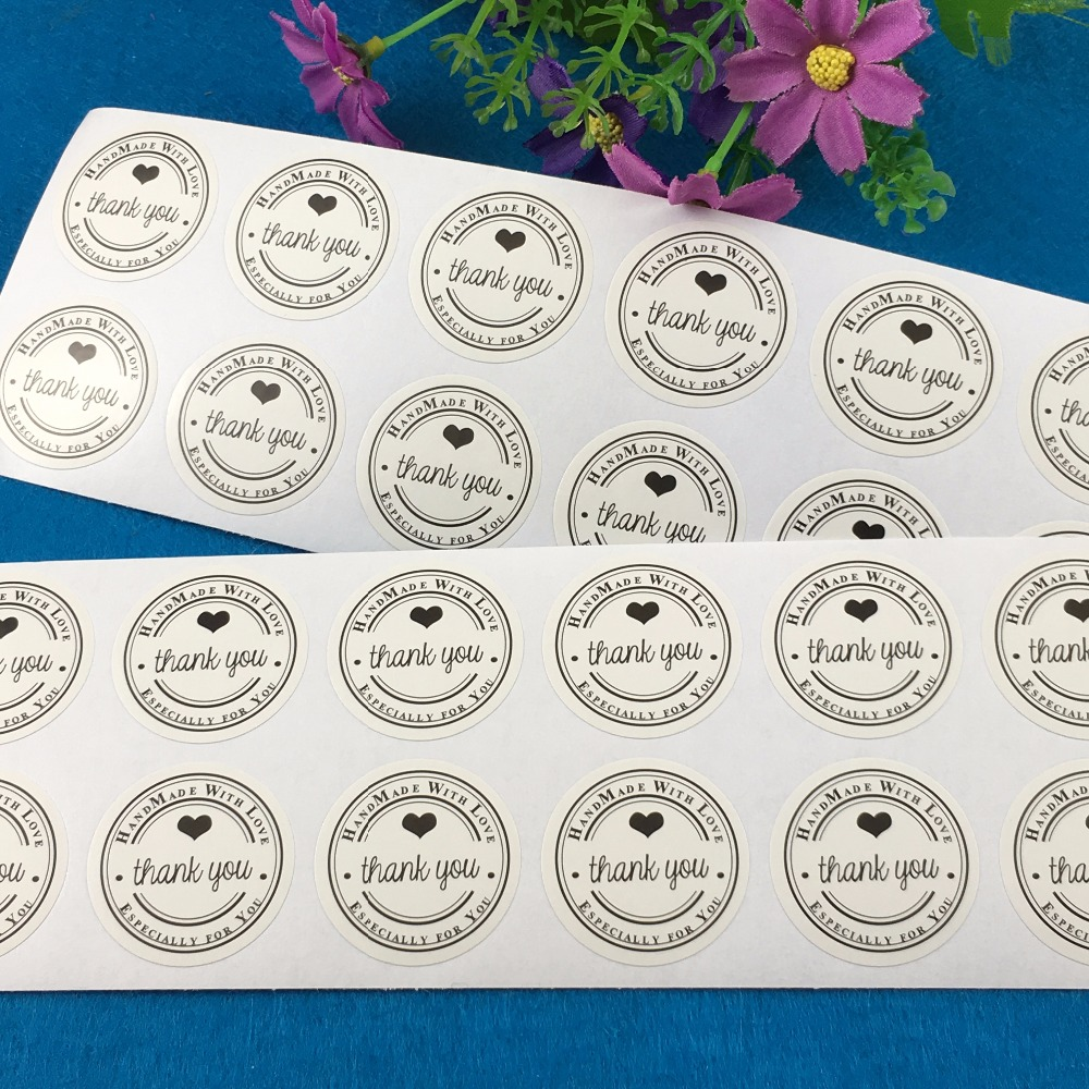 Scrapbook paper display - 1200pcs Lot 3cm Circular Thank You White Handmade With Love Circle Stickers Labels Paper Scrapbook Seal Adhesive Label