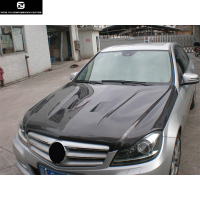 W204 C300 Original style Carbon Fiber Fiber Engine Hoods Auto Car Bonnet with holes For Mercedes Benz W204 C200 12 14