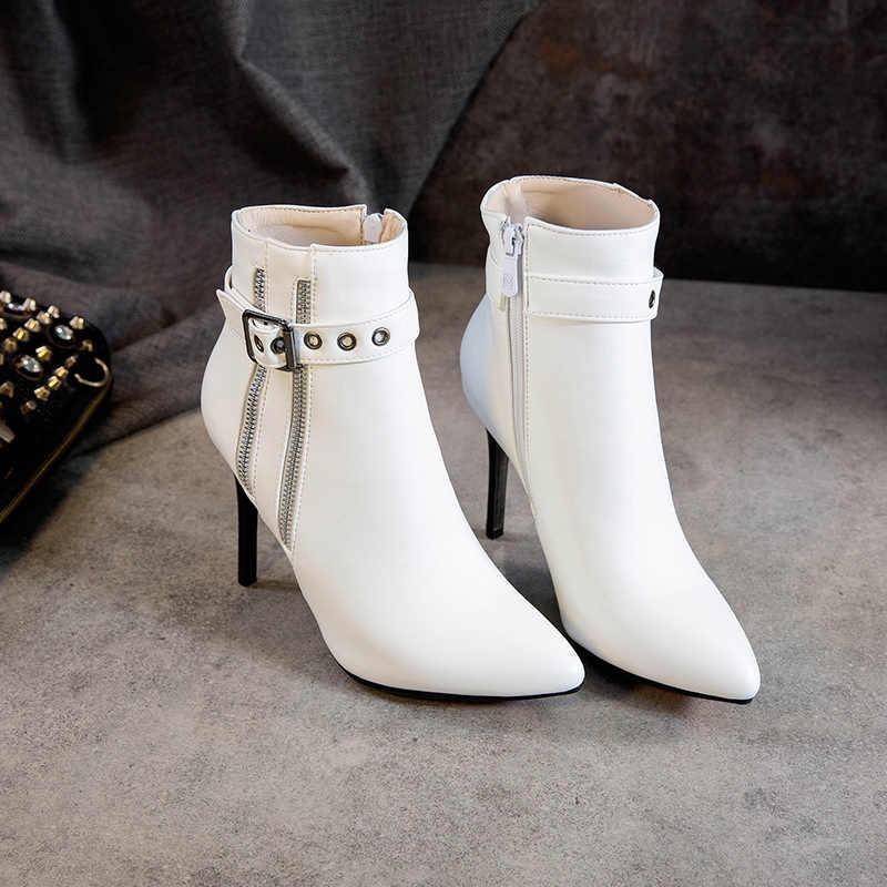 ESRFIFYE 2019 Yeni Sonbahar Kış Stiletto Ince Yüksek Topuklu Sivri Burun Deri Fermuar Tarzı Seksi Ayak Bileği Bayan Botları Bota Feminina