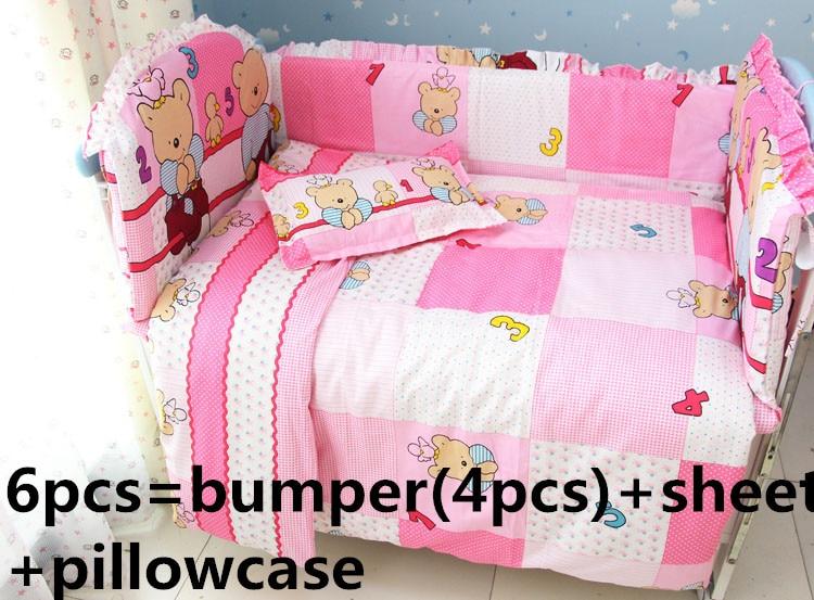 Promotion! 6PCS Cotton Baby Cot Bedding Set Cartoon Crib Bedding Detachable (bumpers+sheet+pillow cover)