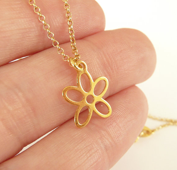 Simple tiny gold lotus shape chain necklace pendant small cute simple tiny gold lotus shape chain necklace pendant small cute flower plant metal flower necklaces fashion jewelry girl gifts in pendant necklaces from aloadofball Gallery