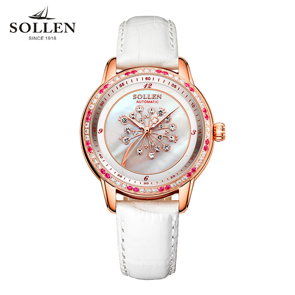 2017 Luxury Fashion SOLLEN Watch Women Famous Brand White Leather Automatic Watch Women Mechanical Watch Relogio Feminino ultra luxury 2 3 5 modes german motor watch winder white color wooden black pu leater inside automatic watch winder