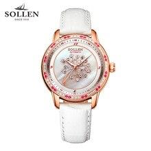 2017 Luxury Fashion SOLLEN Watch Women Famous Brand White Leather Automatic Watch Women Mechanical Watch Relogio Feminino